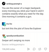 Dora the Explorer, Dora, and Magic: writing-prompt-s  You are the owner of a magic backpack  every morning you stick your hand in and it  contains exactly what you need for the day.  One morning it contains a gun.  tru-ho  but isnt this the plot of Dora the Explorer  spookycombustion  Swiper ain't swiping no more  Source: writing-prompt-s  136,043 notes