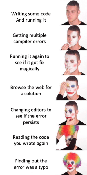 We all been there!: Writing some code  And running it  Getting multiple  compiler errors  Running it again to  see if it got fix  magically  Browse the web for  a solution  Changing editors to  see if the error  persists  Reading the code  you wrote again  Finding out the  error was a typo We all been there!
