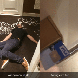 Dude, Las Vegas, and Las Vegas: Wrong room dude  Wrong card too  VISA Las Vegas