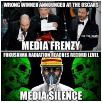 """Memes, Tsunami, and Moonlight: WRONG WINNERANNOUNCED AT THE OSCARS  The Free Thought  MEDIA FRENZY  FUKUSHIMA RADIATION REACHES RECORDLEVEL  MEDIA SILENCE 💭 Fukushhhhh..... 🤐 REPORT: (link to article in our bio) Japan — Radiation levels inside Fukushima Number 2 have reached astronomical levels— experts describe the 530 sieverts per hour as """"unimaginable"""" — yet the political establishment and its corporate media mouthpiece insist on deeming those concerned about the catastrophe 'conspiracy theorists.' . March 11, 2011, saw a massive undersea earthquake spawn an equally formidable tsunami, and — as the world watched in horror — the wall of water slammed into the Japanese coast, knocking Tokyo Electric Power Company-operated Fukushima Daiichi nuclear power plant offline. . Anyone who watched the cataclysmic situation unfold on live TV surmised the dire consequences of having situated a nuclear facility in one of the world's most active fault zones — and on the Pacific coast — but the cost in radioactive impact of the disaster has yet to be fully assessed. . Officials at the nuclear plant had been preparing to dismantle the paralyzed facility when they found levels of radioactivity inside the reactor's containment vessel — where fuel rods originally generated power — to be more than seven times a previous high of 73 sieverts per hour, recorded by Tepco shortly after the fateful day. . Current Radiation levels are no lower than 370 sieverts per minute — but possibly as high as 690! . """"Needless to say, this plant is not fit for human life. Just one dose of a single sievert is enough to cause radiation sickness and nausea. Exposure to four to five sieverts would kill about half of those exposed to it within a month, while a single dose of 10 sieverts is enough to kill a person within weeks.""""... . - Continued - . 💭 Read the FULL Report: (link in bio) http:-thefreethoughtproject.com-media-labels-fukushima-conspiracy-theory-radiation-soars-record-level- 💭 Join Us: @TheFreeTh"""