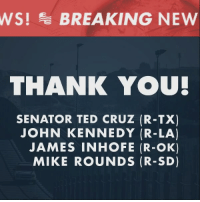 News, Ted, and Ted Cruz: WS!BREAKING NEW  THANK YOU  SENATOR TED CRUZ (R-TX)  JOHN KENNEDY (R-LA)  JAMES INHOFE (R-OK)  MIKE ROUNDS (R-SD) BREAKING NEWS: Ted Cruz and other GOP Senators have introduced a bill to fully fund the Wall on our southern border!   Send an email to your Congressman and Senators now and tell them to Fund the Wall: https://p2a.co/LKWmeBz