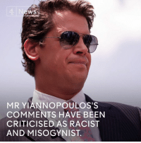 Memes, Misogynistic, and UC Berkeley: WS  MR YIANNOPOULOSTS  COMMENTS HAVE BEEN  CRITICISED AS RACIST  AND MISOGYNIST. Violent student protests forced UC Berkeley to cancel a talk by right-wing commentator and Trump supporter Milo Yiannopoulos.  Donald J. Trump has threatened to remove the university's federal funding.