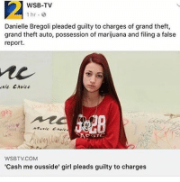 Anime, Dank, and Emo: WSB-TV  1 hr.  Danielle Bregoli pleaded guilty to charges of grand theft,  grand theft auto, possession of marijuana and filing a false  report.  sit Choice  Atuaic Chole  WSBTV.COM  Cash me ousside' girl pleads guilty to charges PLEASE LET THIS BE REAL papafranku cringe triggered offensive otaku meme memes dank dankmeme dankmemes instalike instafollow tøp likeforlike tags4likes f4f tagsforlikes tagsforfollow emo anime animeboy animegirl manga filthyfrank antifeminism feminism jetfuelcantmeltsteelbeams photooftheday pinkguy