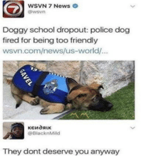 News, Police, and School: WSVN 7 News  @wsvn  Doggy school dropout: police dog  fired for being too friendly  wsvn.com/news/us-world/  @BlacknMild  They dont deserve you anyway Poor doggo