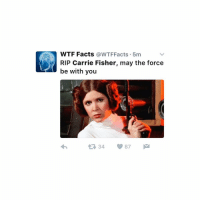 Carrie Fisher, Fandom, and Carrie: WTF Facts  @WTF Facts 5m  RIP Carrie Fisher, may the force  be with you  87  34 - wtf 2016 please tell me this is a joke