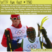 "Facts, Finish Line, and Tumblr: WTF fun fact #1980  Philip Boit, the first Kenyan to participate in the Winter Olympics.  Competing in the 10 KM classic cross-country race he came in  last. The winner, Bjørn Dæhlie, waited for Boit to reach the finish  line in order to hug him. The moment affected him so much Boit  named his son after Dæhlie  Qses  KENY A  NAGANO 19  NAGAN  wtffunfact.com <p><a href=""http://wtffunfact.com/post/160244588812/sportsmanship-wtf-fun-facts"" class=""tumblr_blog"">wtf-fun-factss</a>:</p>  <blockquote><p>Sportsmanship - <b><a href=""http://t.umblr.com/redirect?z=http%3A%2F%2Fwtffunfact.com&amp;t=ZDdkMjIyZmEzMjIxODdmZDE1Yjc1NDY3NTc4ZGJiMmIzMzkyOTdiOCw0THpuOEdyMQ%3D%3D&amp;b=t%3Az9OKwGAR5vFReO8UIkz88w&amp;p=http%3A%2F%2Fwtffunfact.com%2Fpost%2F160240348572%2Fthe-voice-actors-of-mickey-and-minnie-mouse-are&amp;m=1"">WTF fun facts </a></b>  <br/></p></blockquote>"