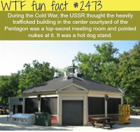 Memes, Wtf, and Cold: WTF fun fact #2413  During the Cold War, the USSR thought the heavily  trafficked building in the center courtyard of the  Pentagon was a top-secret meeting room and pointed  nukes at it. It was a hot dog stand