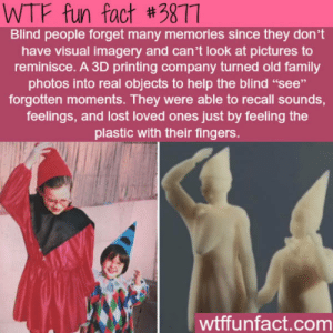 "Blind people have feelings too.: WTF fun fact #3877  Blind people forget many memories since they don't  have visual imagery and can't look at pictures to  reminisce. A 3D printing company turned old family  photos into real objects to help the blind ""see""  forgotten moments. They were able to recall sounds,  feelings, and lost loved ones just by feeling the  plastic with their fingers.  wtffunfact.com Blind people have feelings too."