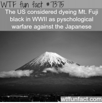 Wtffunfact: WTF fun fact #7315  The US considered dyeing Mt. Fuji  black in WWIl as pyschological  warfare against the Japanese  wtffunfact.com