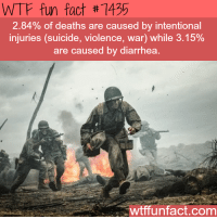 Wtffunfact: WTF fun fact #7435  2.84% of deaths are caused by intentional  injuries (suicide, violence, war) while 3.15%  are caused by diarrhea  wtffunfact.com