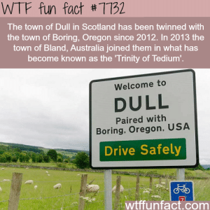 wtf-fun-factss:  Dull, Scotland - WTF fun facts   : WTF fun fact #7732  The town of Dull in Scotland has been twinned with  the town of Boring, Oregon since 2012. In 2013 the  town of Bland, Australia joined them in what has  become known as the Trinity of Tedium'.  Welcome to  DULL  Paired with  Boring, Oregon, USA  Drive Safely  wtffunfact.com wtf-fun-factss:  Dull, Scotland - WTF fun facts