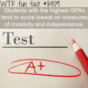 If you are a student Follow @studentlifeproblems​: WTF fun fact #8409  Students with the highest GPAs  tend to score lowest on measures  of creativity and independence  Test If you are a student Follow @studentlifeproblems​