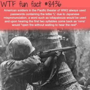 "Thats Waisist: WTF fun fact #8456  American soldiers in the Pacific theater of WW2 always used  passwords containing the letter 'L' due to Japanese  mispronunciation, a word such as lollapalooza would be used  and upon hearing the first two syllables come back as 'rorra  would ""open fire without waiting to hear the rest"" Thats Waisist"