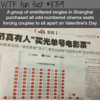 "Facts, Head, and Tumblr: WTF fun fact #8759  A group of embittered singles in Shanghai  purchased all odd-numbered cinema seats  forcing couples to sit apart on Valentine's Day  1退要闻|  真有人""买光单号电影票""  当晚黄金档一场电影被""攻占"",格瓦拉破例""包场再分售""促成网友恶  真  光  1175对准新人预  情人节""马上结  UME新天地影城6号厅  晨报记者陈里予  了解91""巳鯥利1175对  人预 人节""Q上结婚  MK,冰东新区等""nn  @oeb O @ O鲁0.) 0 0囗鲁  不少区 提前做好r51  还加开半天登ee.  今年元宵  @O@O@O @ O ® O  O.  O.  柊幸福的日子定!  沪上各 <p><a href=""http://anchovy-official.tumblr.com/post/174243197680/burningmanonacid-red-faced-wolf"" class=""tumblr_blog"">anchovy-official</a>:</p>  <blockquote><p><a href=""http://burningmanonacid.tumblr.com/post/174242686065/red-faced-wolf-wtf-fun-factss-shanghai"" class=""tumblr_blog"">burningmanonacid</a>:</p><blockquote> <p><a href=""http://red-faced-wolf.tumblr.com/post/174177290740/wtf-fun-factss-shanghai-singles-bought-every"" class=""tumblr_blog"">red-faced-wolf</a>:</p>  <blockquote> <p><a href=""http://wtffunfact.com/post/173997641387/shanghai-singles-bought-every-odd-number-seats-on"" class=""tumblr_blog"">wtf-fun-factss</a>:</p>  <blockquote><p>Shanghai singles bought every odd number seats on valentine's - <b><a href=""https://t.umblr.com/redirect?z=http%3A%2F%2Fwtffunfact.com%2F&t=ZTNiYmE3N2NjNTFlMGY1YzFkNmQ4N2E3M2E5NDY0NjFhZWJlYjY0NixhMEZDdVdoSw%3D%3D&b=t%3Az9OKwGAR5vFReO8UIkz88w&p=http%3A%2F%2Fwtffunfact.com%2Fpost%2F173584034182%2Faustralian-island-full-of-quokkas-the-happiest&m=1"">WTF fun facts</a></b><br/></p></blockquote>  <p>Incel uprising </p> </blockquote>  <p>HA! Joke is on them… i want my partner to sit behind me so they can put their feet up by my head and I can suck on their toes </p> </blockquote> <p>nevermind!! this post is cancelled!!!!</p></blockquote>"