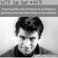So I'm a psycho @questifying 😂: WTF fun fact th4415  Psychopaths are immune to contagious  yawning and are less likely to be startled  wtffunfact.com So I'm a psycho @questifying 😂