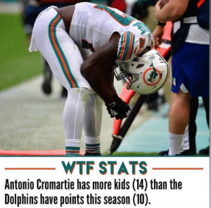 Your NFL Week 3 Stat https://t.co/lvFhifM99k: WTF STATS  Antonio Cromartie has more kids (14) than the  Dolphins have points this season (10) Your NFL Week 3 Stat https://t.co/lvFhifM99k