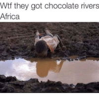 Africa, Funny, and Wtf: Wtf they got chocolate rivers  Africa