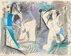 wtxch:  Pablo Picasso (1881–1973)Deux nus couchés, 15 - 16 August 1972    coloured crayon and wash on paper: wtxch:  Pablo Picasso (1881–1973)Deux nus couchés, 15 - 16 August 1972    coloured crayon and wash on paper