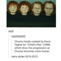 "@ DY OMFG GUYS I'M WHEEZING - VINCENT @VincentWulf @Ft.Vinny: Wu3:  ryanhills420:  Chucky heads created by Kevin  Yagher for ""Child's Play"" (1988)  which show the progression as  Chucky becomes more human  harry styles 2010-2013 @ DY OMFG GUYS I'M WHEEZING - VINCENT @VincentWulf @Ft.Vinny"
