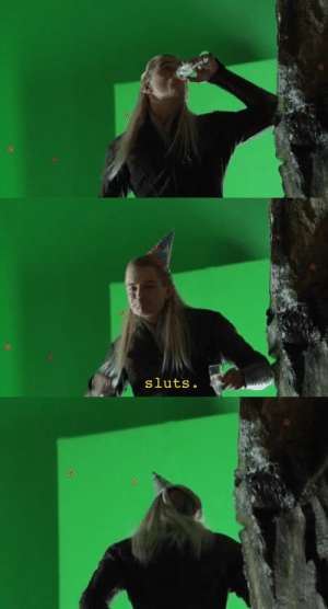 wuekka:  forest-khalse:   dorkynanni:  southbreak:   the-female-gaymer:   galadariel:  it's back   will this never get explained to me???    what is happening    Explanation:  They are shooting the scene in Desolation of Smaug where Kili and Tauriel are having their first real conversation in the dungeons.  In the scene, they talk about a party happening upstairs (something about the stars, I can't remember). Legolas is supposed to be seen staring at the two of them in jealousy 'cause he likes Tauriel.  Orlando, however, chose to make this glorious blooper happen by wearing a party hat and calling them sluts.    https://youtu.be/UXDBRP5HEQA    WAIT, THIS WASN'T A FUNNY EDIT?! : wuekka:  forest-khalse:   dorkynanni:  southbreak:   the-female-gaymer:   galadariel:  it's back   will this never get explained to me???    what is happening    Explanation:  They are shooting the scene in Desolation of Smaug where Kili and Tauriel are having their first real conversation in the dungeons.  In the scene, they talk about a party happening upstairs (something about the stars, I can't remember). Legolas is supposed to be seen staring at the two of them in jealousy 'cause he likes Tauriel.  Orlando, however, chose to make this glorious blooper happen by wearing a party hat and calling them sluts.    https://youtu.be/UXDBRP5HEQA    WAIT, THIS WASN'T A FUNNY EDIT?!