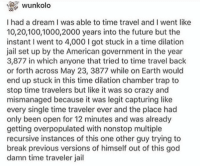 A Dream, Anaconda, and Crazy: wunkolo  I had a dream I was able to time travel and I went like  10,20,100,1000,2000 years into the future but the  instant I went to 4,000 I got stuck in a time dilation  jail set up by the American government in the year  3,877 in which anyone that tried to time travel back  or forth across May 23, 3877 while on Earth would  end up stuck in this time dilation chamber trap to  stop time travelers but like it was so crazy and  mismanaged because it was legit capturing like  every single time traveler ever and the place had  only been open for 12 minutes and was already  getting overpopulated with nonstop multiple  recursive instances of this one other guy trying to  break previous versions of himself out of this god  damn time traveler jail me irl