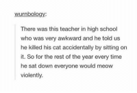 School, Teacher, and Awkward: wurnbology:  There was this teacher in high school  who was very awkward and he told us  he killed his cat accidentally by sitting on  it. So for the rest of the year every time  he sat down everyone would meow  violently. classic mistake https://t.co/wsPVRJnW53