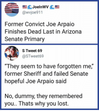 "Memes, Lost, and Arizona: @wvjoe911  Former Convict Joe Arpaio  Finishes Dead Last in Arizona  Senate Primary  S Tweet 69  @STweet69  ""They seem to have forgotten me,""  former Sheriff and failed Senate  hopeful Joe Arpaio said  ID  No, dummy, they remembered  you.. Thats why you lost. At least ""Senator Arpaio"" won't be a thing."