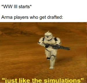 "They've been preparing for this: *WW III starts*  Arma players who get drafted:  ""just like the simulations""  11 They've been preparing for this"