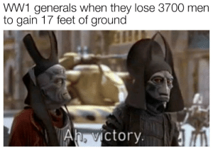 Feet, Ww1, and They: WW1 generals when they lose 3700 men  to gain 17 feet of ground  ictory. I see this as an absolute win
