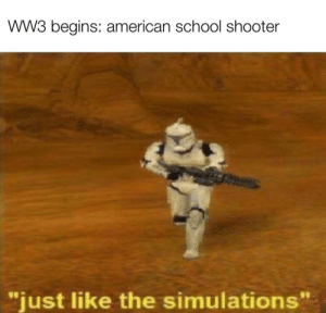 "Just like in simulation: WW3 begins: american school shooter  ""just like the simulations"" Just like in simulation"
