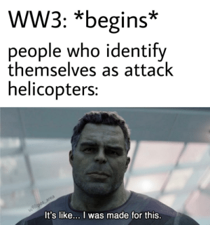 Mi-24 is the best gender: WW3: *begins*  people who identify  themselves as attack  helicopters:  u/filipos_area  It's like... I was made for this. Mi-24 is the best gender