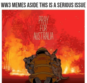 It's a serious matter guye: WW3 MEMES ASIDE THIS IS A SERIOUS ISSUE  PRAY  FOR  AUSTRALIA  VOSUNTEER  eTAE ERVICE It's a serious matter guye
