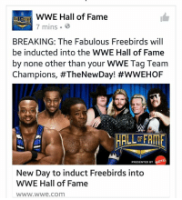 Well this is a shock #TheNewDay will induct the Freebirds into the #WWE HOF.  Jjl: WWE Hall of Fame  7 mins 3  BREAKING: The Fabulous Freebirds will  be inducted into the WWE Hall of Fame  by none other than your WWE Tag Team  Champions, #TheNewDay! #WWEHOF  HALL DEFRUE  PRESENTED BY  New Day to induct Freebirds into  WWE Hall of Fame  WWW.WWe Com Well this is a shock #TheNewDay will induct the Freebirds into the #WWE HOF.  Jjl