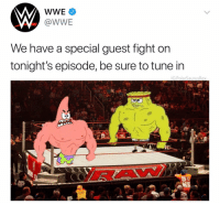 SpongeRoids SmallNuts vs Patrick Star 😩 Follow me for more @PolarSaurusRex: @WWE  We have a special guest fight on  tonight's episode, be sure to tune in  G:PolarSaurusRex  AI  BA SpongeRoids SmallNuts vs Patrick Star 😩 Follow me for more @PolarSaurusRex