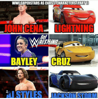 Funny, Girls, and Memes: WWESUPERSTARS AS CARS3 CHARACTERS(PART1]  JOHNCENA LIGHTNING  RES  if  BAYLEY CRUZ  I STYLES 👍👍👍👍👍👍👍👍👍👍👍👍👍 wwe wweraw wwelife wwelive wwememes wwefunny wrestling wwenetwork wwenxt tna nxt memes funny likeforlike like4like gta ps4 xboxone xbox wwefan myfan nba nfl nhl nascar girls