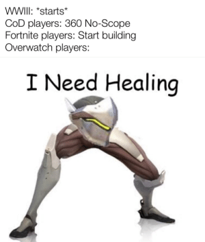 Wait aren't they dead?: WWII: *starts*  COD players: 360 No-Scope  Fortnite players: Start building  Overwatch players:  I Need Healing Wait aren't they dead?