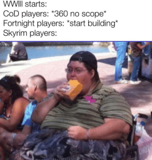 Also works for fallout players: WWIII starts:  COD players: *360 no scope*  Fortnight players: *start building*  Skyrim players:  CHEF Also works for fallout players