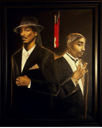 """Memes, Paintings, and Canvas: www  0 """"2 of Americaz most wanted"""" Oil on canvas painting 🔥 @chrisjacoub makes amazing paintings! 👏 Follow @chrisjacoub for more!! @snoopdogg 2pac"""