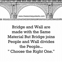 """Memes, Materialism, and 🤖: www.Awesomequotes4u.com  Bridge and Wall are  made with the Same  Material But Bridge joins  People and Wall divides  the People...  II  Choose the Right One."""" Adorable Quotes"""