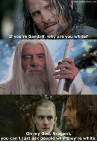 Aragorn: www.catikay.tumblr.com  If you're Gandalf, why are you white?  Oh my God, Aragorn  you can't just ask people  why they're white.