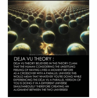 mindblown lifeofadventure higherconsciousness: www.consC  iension.com  DEJA VU THEORY:  DEJA VU THEORY BELIEVERS IN THIS THEORY CLAIM  THAT THE HUMAN CONSIDERING THE UNSETTLING  FEELING OF HAVING LIVED A MOMENT BEFORE  AS A CROSSOVER WITH A PARALLEL UNIVERSE THIS  WOULD MEAN THAT WHATEVER YOU'RE DOING WHILE  EXPERIENCING THE DÉJA VU A PARALLEL VERSION OF  YOU IS DOING IT IN A DIFFERENT UNIVERSE  SIMULTANEOUSLY THEREFORE CREATING AN  ALIGNMENT BETWEEN THE TWO UNIVERSES! mindblown lifeofadventure higherconsciousness
