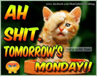 Memes, Mondays, and Tomorrow: www.facebook.com/ShutUplmStill Talking  AH  CHIT  TOMORROW  MONDAY