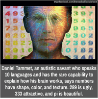Brains, Memes, and Brain: www.facebook.com/themedicalfactsdotcom  Daniel Tammet, an autistic savant who speaks  10 languages and has the rare capability to  explain how his brain works, says numbers  have shape, color, and texture. 289 is ugly,  333 attractive, and pi is beautiful