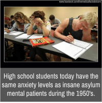 Memes, 🤖, and Asylum: www.facebook.com/themedicalfactsdotcom  mm,  High school students today have the  same anxiety levels as insane asylum  mental patients during the 1950's.