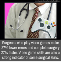indicative: www.facebook.com/themedicalfactsdotcom  Surgeons who play video games make  37% fewer errors and complete surgery  27% faster. Video game skills are also a  strong indicator of some surgical skills.