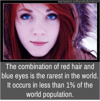 Populism: www.facebook.com/themedicalfactsdotcom  The combination of red hair and  blue eyes is the rarest in the world  It occurs in less than 1% of the  world population.