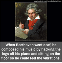 Memes, Beethoven, and Piano: www.facebook.com/themedicalfactsdotcom  When Beethoven went deaf, he  composed his music by hacking the  legs off his piano and sitting on the  floor so he could feel the vibrations.