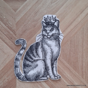 "meme-mage:    This cat looks very handsome (if a little smug posing in his crown), but then all cat owners know who is really in charge. He measures approximately 9.5cm high by 7.5cm wide (3.75"" by 3"") and is stitched in shades of grey on white felt. Add a touch of grandeur to your project with this embroidered iron on patch. Easily applied with a hot iron (directions are supplied with the patch), this would look great on a shirt, jeans pocket, bag or almost anywhere. If your chosen surface can't be ironed, you can sew or glue it on instead. Have a look at my other iron patches athttps://www.etsy.com/uk/shop/JaneAtNumber13?section_id=15677278&ref=shopsection_leftnav_3   : www.janeatnumber13.co.uk meme-mage:    This cat looks very handsome (if a little smug posing in his crown), but then all cat owners know who is really in charge. He measures approximately 9.5cm high by 7.5cm wide (3.75"" by 3"") and is stitched in shades of grey on white felt. Add a touch of grandeur to your project with this embroidered iron on patch. Easily applied with a hot iron (directions are supplied with the patch), this would look great on a shirt, jeans pocket, bag or almost anywhere. If your chosen surface can't be ironed, you can sew or glue it on instead. Have a look at my other iron patches athttps://www.etsy.com/uk/shop/JaneAtNumber13?section_id=15677278&ref=shopsection_leftnav_3"