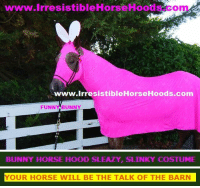 Sleazy: www.lrresistibleHorseHoods.com  www.IrresistibleHorseHoods.com  FUNNY BUNNY   BUNNY HORSE HOOD SLEAZY, SLINKY COSTUME   YOUR HORSE WILL BE THE TALK OF THE BARN