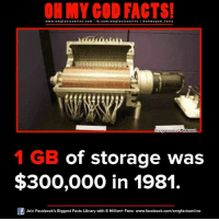 Facebook, Facts, and God: www.omg facts online.com  I fb.com  om g facts online I a oh y god facts  Pinterest  mage Source  1 GB of storage was  $300,000 in 1981.  Of Join Facebook's Biggest Facts Library with 6 Million+ Fans- www.facebook.com/omgfactsonline
